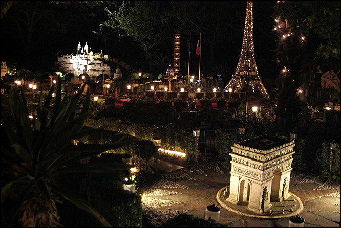 Paris by night ... replica Eiffel Tower glitters in the dark