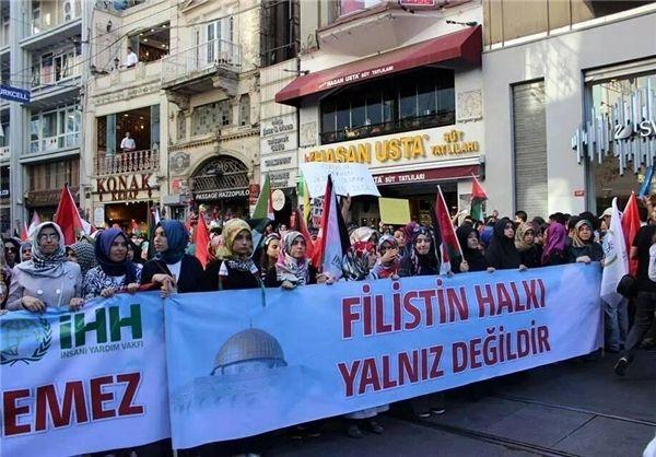 تظاهرات در ترکیه در حمایت از غزه + تصاویر