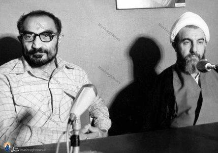 آیت الله محمد محمدی گیلانی درکنار شهید سید اسدالله لاجوردی در دادگاه انقلاب اسلامی